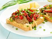 image of liver fry  - Toasts with mustard sauce liver and stir - JPG