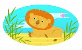 picture of butterfly-bush  - Cute baby lion sits on the ground behind bushes - JPG