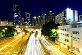 image of hong kong bridge  - hong kong busy traffic night - JPG