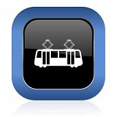 pic of tram  - tram square glossy icon public transport sign  - JPG
