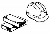 pic of hard_hat  - Hard hat and bricks isolated on white background - JPG