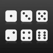 stock photo of dice  - Six realistic dices with with reflections on black background - JPG
