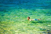 pic of crystal clear  - Young Man Swiming in Crystal Clear Sea - JPG