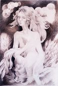foto of monochromatic  - A fantasy detailed drawing of elven woman creature with leaves and wavy hair fantasy monochromatic drawing - JPG