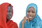 picture of racial discrimination  - Two Afro beauties wearing a veil - JPG