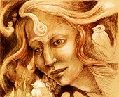 stock photo of monochromatic  - Fairy woman face drawing sepia monochromatic ornamental profile portrait - JPG
