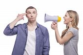 picture of adultery  - Young couple conflict concept - JPG