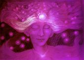 stock photo of lilas  - Purple god of the starry wind ornamental detailed drawing of elven man gentle head linear monochromatic fantasy portrait abstract background - JPG