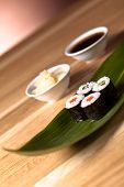 image of souse  - delicious  sushi set with soy souse and ginger - JPG