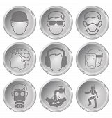 stock photo of ppe  - Monochrome construction manufacturing and engineering health and safety related icon set isolated on white background - JPG