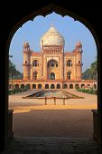 stock photo of mughal  - Tomb of Safdarjung seen from main gateway New Delhi India - JPG