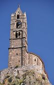 stock photo of michel  - The Chapel built on the top of a needle of volcanic lava called Rocher St Michel  - JPG