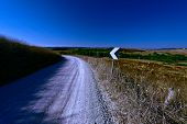 image of dirt road  - Dirt Road Leading to the Farmhouse in Tuscany at Night Toned Picture - JPG