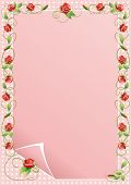 stock photo of climbing roses  - Vector illustration frame of climbing flowers and leafs - JPG