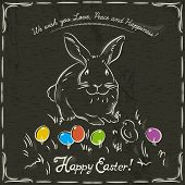 stock photo of easter eggs bunny  - One easter rabbit and easter colored eggs on grunge brown background and inscription with text Happy Easter - JPG