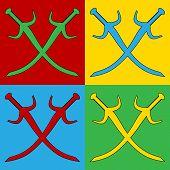 picture of longsword  - Pop art crossed swords symbol icons - JPG
