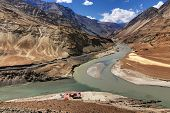 picture of jammu kashmir  - Scenic view of Confluence of Zanskar river from left and Indus rivers from up right  - JPG
