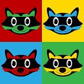 stock photo of raccoon  - Pop art raccoon symbol icons - JPG