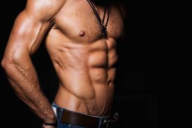 pic of hunk  - Muscular and sexy torso of young man with perfect abs - JPG