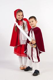foto of little red riding hood  - Red Riding Hood and the little prince with sword - JPG