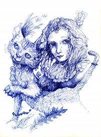 stock photo of monochromatic  - Beautiful detailed fantasy drawing of a fairy girl and a cat ornamental monochromatic style white background - JPG
