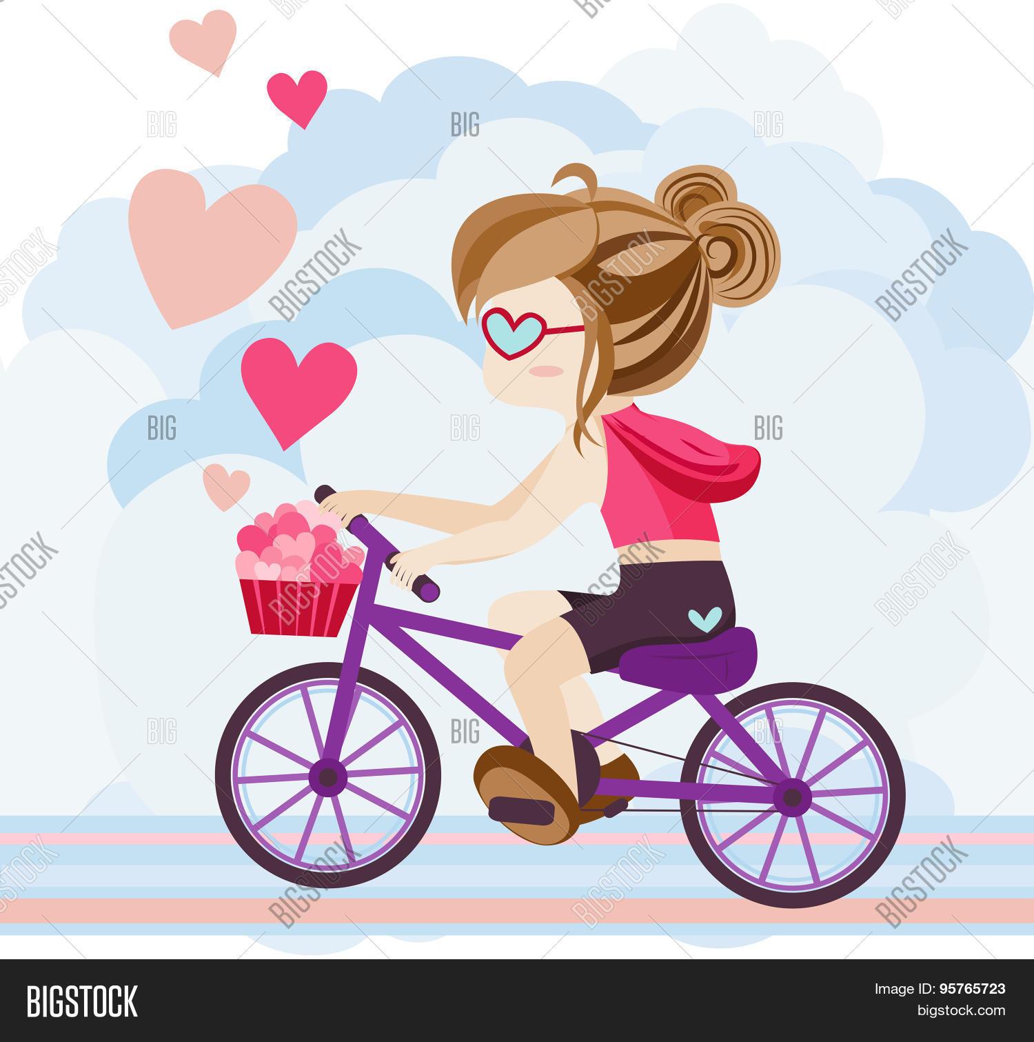 Cute Cartoon Girl Character Riding Vector Photo Bigstock