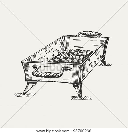 Illustration of painted grill with charcoal in black and white.