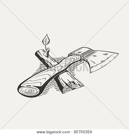 Illustration of ax and log on white background.