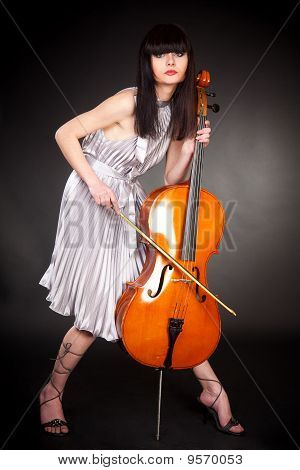 Brunette Girl With Cello