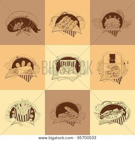 Set of nine fast-food illustrations.
