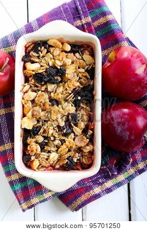 Plum Crumble With Oat And Raisin Topping