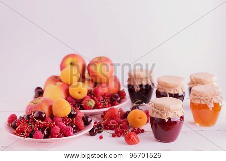 Jam, Fruit And Berries (apples, Apricots, Raspberries. Strawberry, Currant, Cherry).