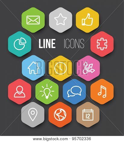 Set of black vector minimalistic thin line icon in color hexagons - white version