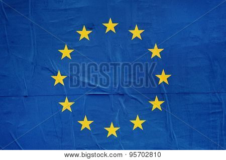 Eu Flag Print On Grunge Poster Paper