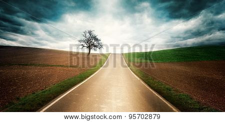 Country Road With Dramatic Mood