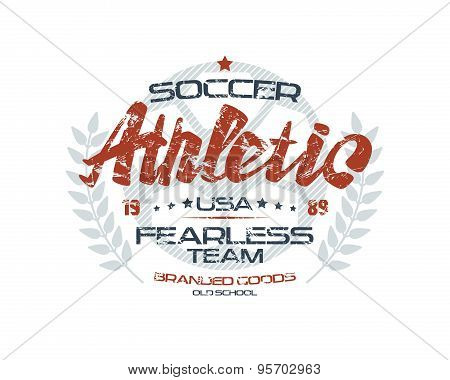 Soccer Emblem With Shabby Texture