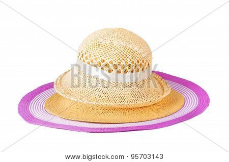 Set Summer Straw Hats Isolated