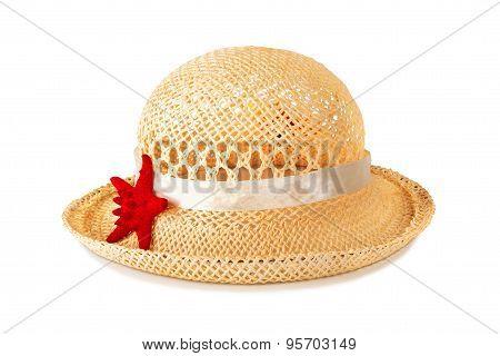 Pretty Straw Hat With Starfish