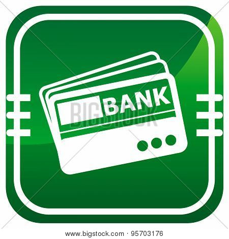 Credit Card, Vector Green Icon