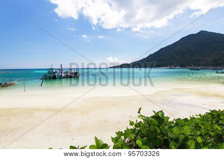 Long-tailed Boat And The Beach And Blue Sky At Koh Phangan,surat Thani, Thailand Thailand