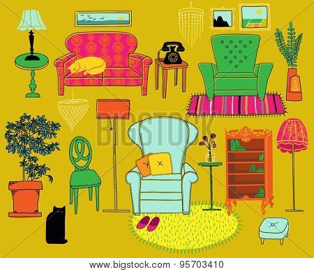 Doodle Furniture and Home Accessories - Hand drawn set of retro style furniture and accessories, including sofa, armchairs, bookshelf, house plant, crystal chandeliers, lamps and rugs