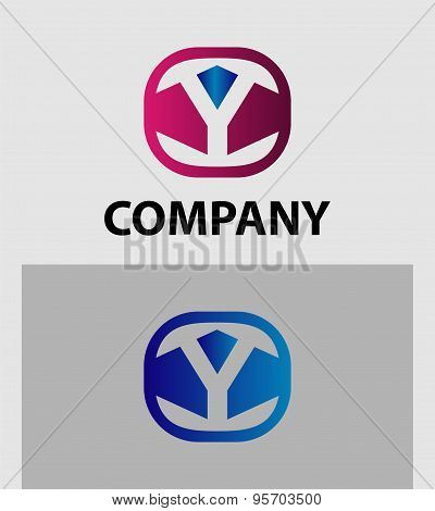 Abstract letter Y logo design template. Colorful creative sign