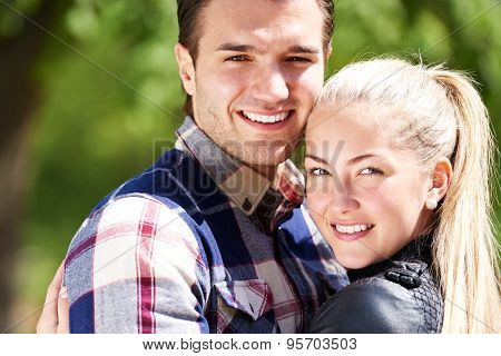 Romantic Happy Couple With Lovely Smiles
