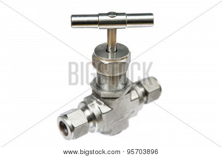 Manual ball valve or stainless steel ball valve isolated on white background