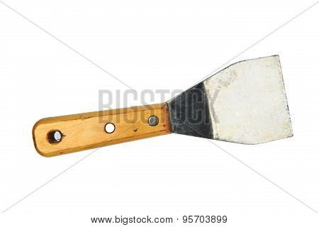 Palette-knife isolated on a white background, Used trowel tool in industry or dirty job, Hand tools