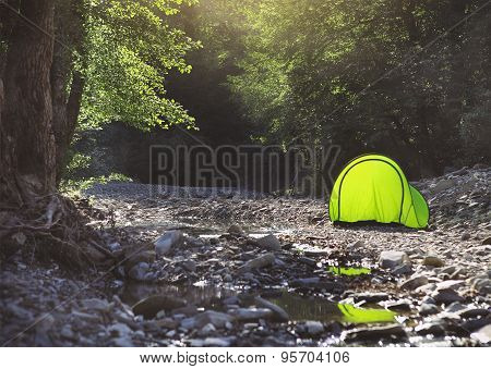 Tourist Tent In Camp Near The Mountain River