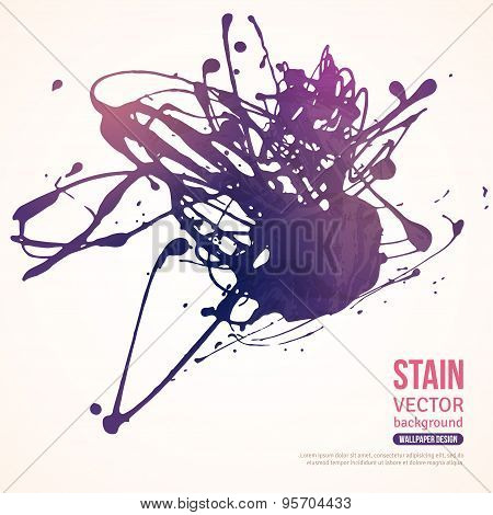 Splatter Paint Banner. Violet Painted Background