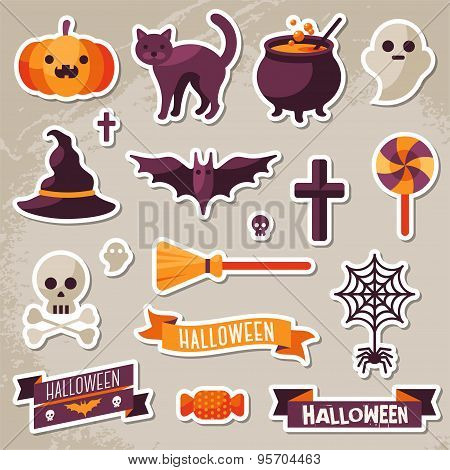 Set of Halloween Ribbons and Characters Stickers.