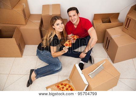 Happy Couple Unpacking