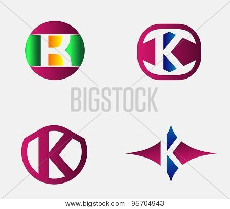 Abstract K round logo design template. Vector creative symbol